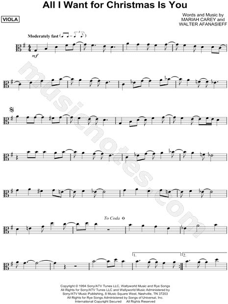 """Mariah Carey """"All I Want for Christmas Is You"""" Sheet Music"""