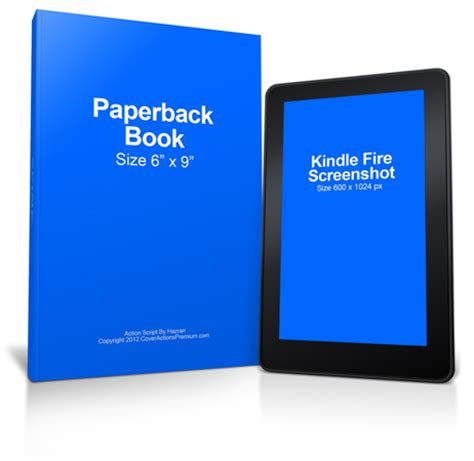 Kindle Fire Paperback Book Mockup | Cover Actions Premium
