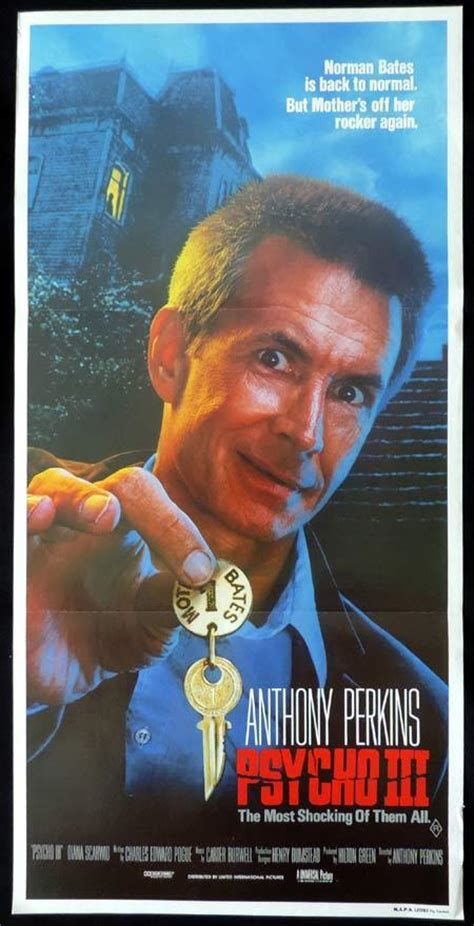 PSYCHO 3 Original Daybill Movie Poster Anthony Perkins as